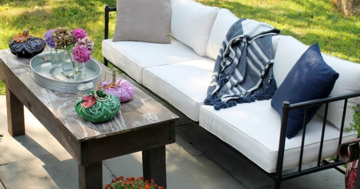My New Patio Sofa decorated for early fall