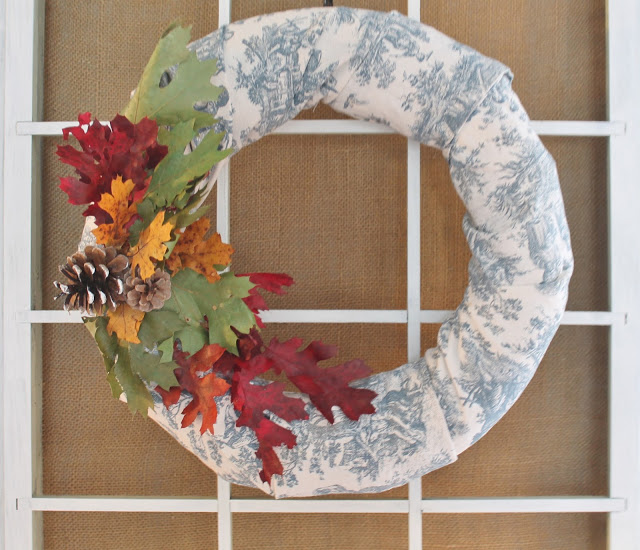 Blue and White Fall Wreath