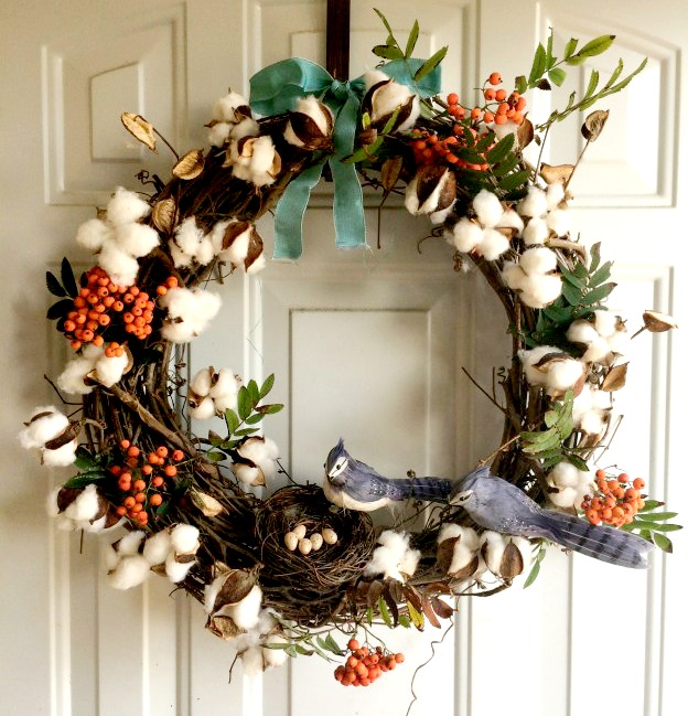 Cotton Bud Fall Wreath