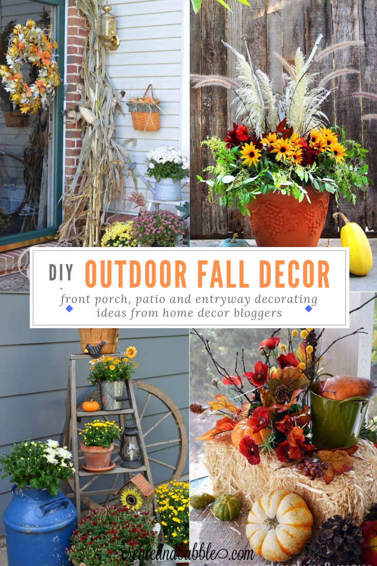 fall collage with four images of decorating ideas