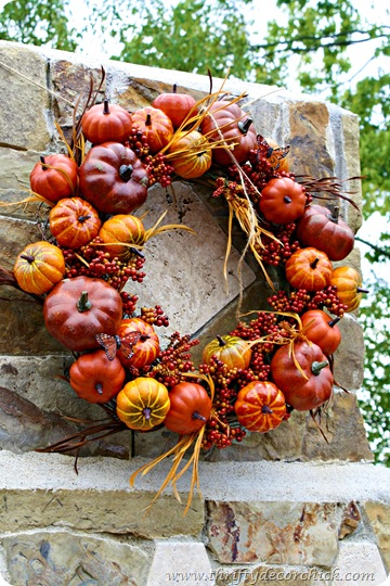 A pumpkin wreath (on the patio)