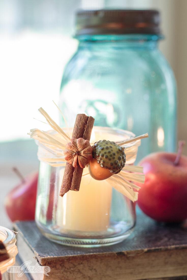 Fall Tealight Candle Holders Made From Oui Yogurt Jars