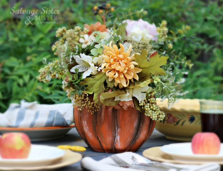 Upcycled Detergent Pod Container Pumpkin Centerpiece