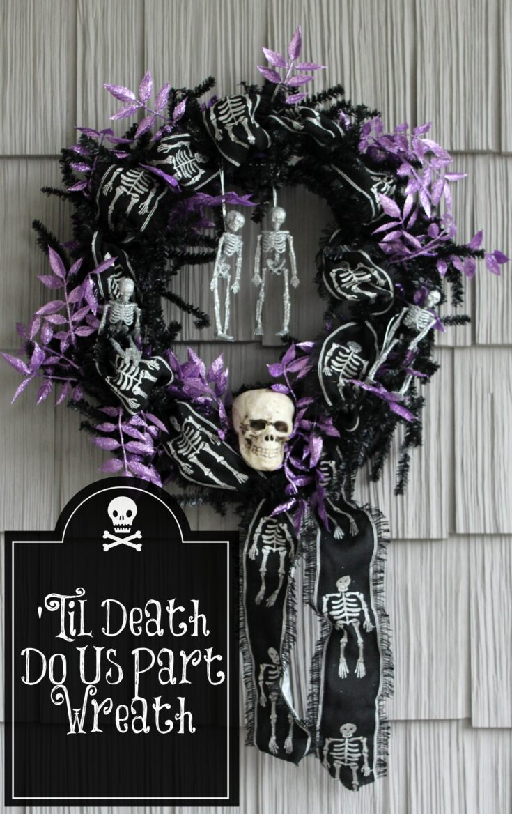 'Til Death Do Us Part Spooky Skeleton Wreath
