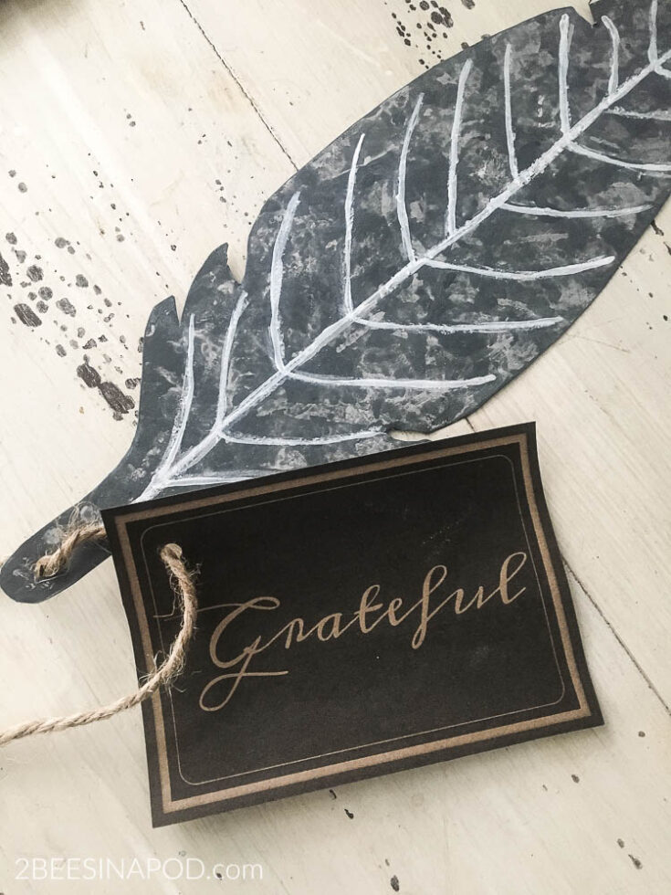 Faux Galvanized Feather and Place Cards