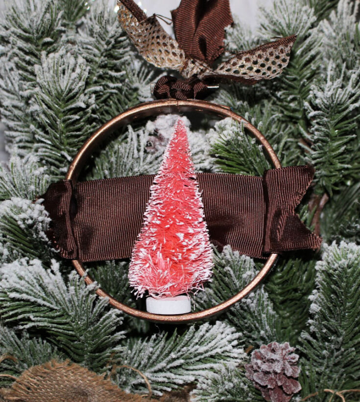 How To Make A Pretty Bottle Brush Tree Hoop Ornament