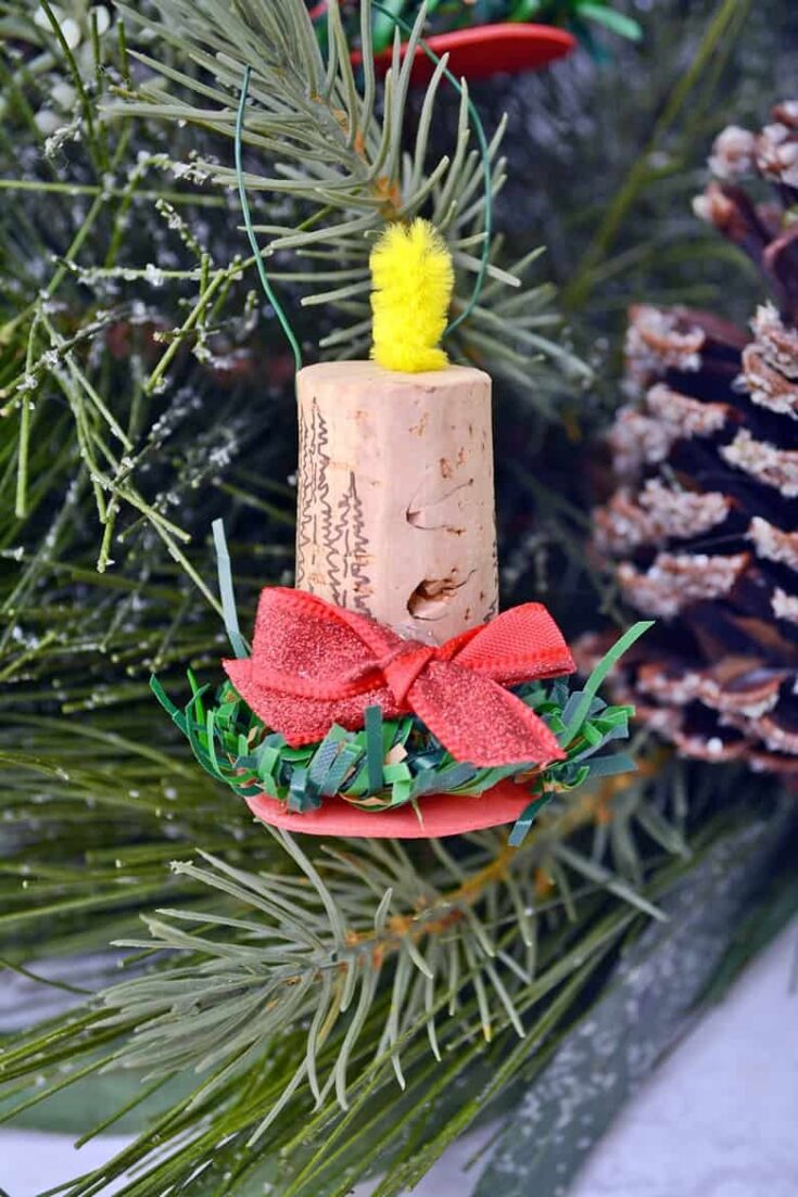 DIY Wine Cork Candle Christmas Ornaments