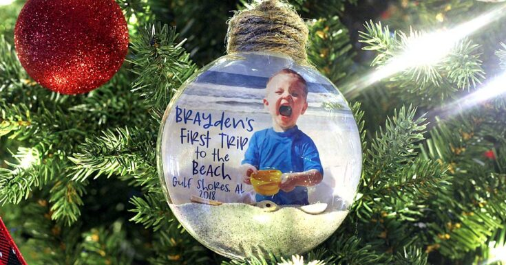 First Trip to the Beach Ornament with a Floating Photo, Sand, & Shells!