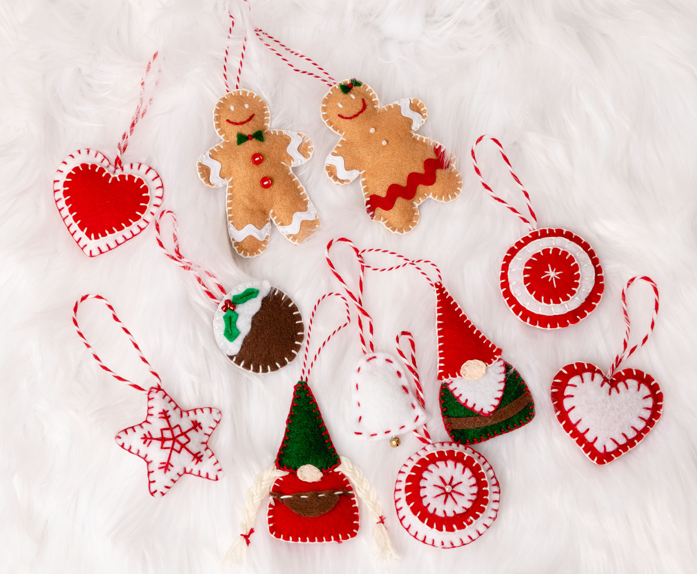 Easy Felt Christmas Ornaments, Felt Decorations to Make, Gnomes