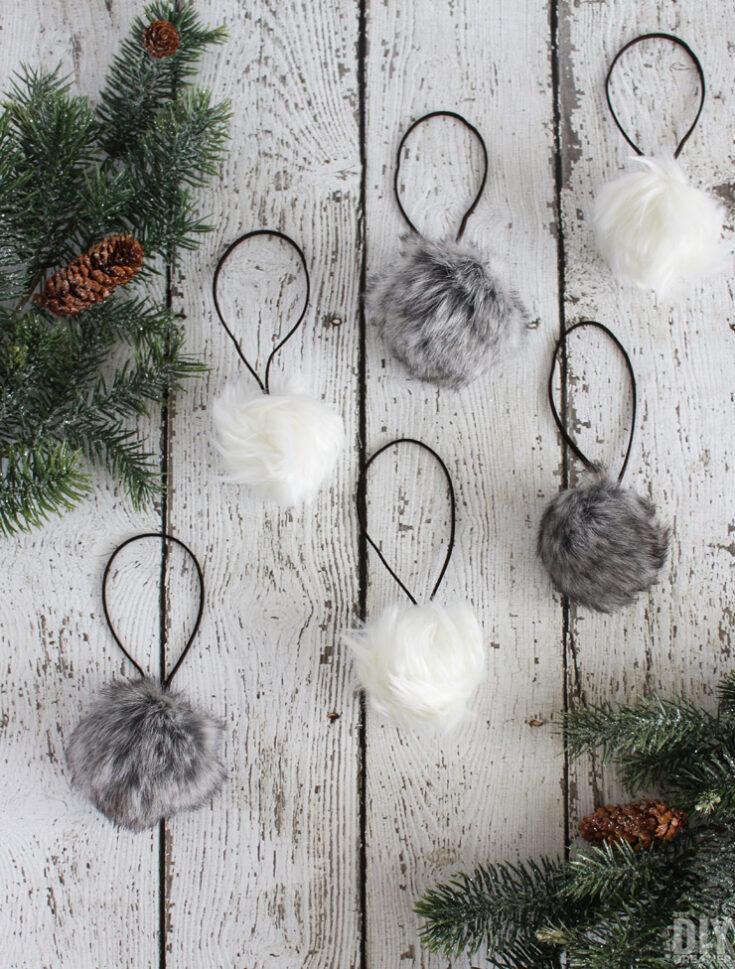 Faux Fur Pom Pom Christmas Ornaments - Rustic Christmas