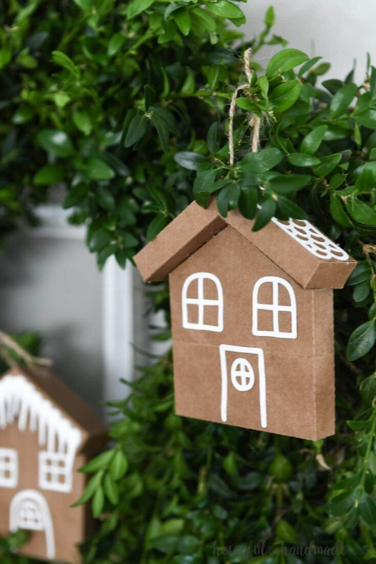7 Days of Paper Christmas Decor: Gingerbread House Ornaments