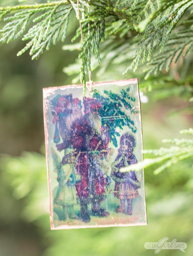 Vintage Christmas Postcard Shrinky Dinks Ornaments