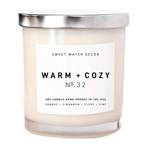Warm and Cozy Candle Natural Soy Wax White Jar Silver Lid Scented Orange Cinnamon Ginger Clove Cypress Pine Fir Holiday Christmas Winter Home Decor For Her Made in USA Lead and Gluten Free Cotton Wick