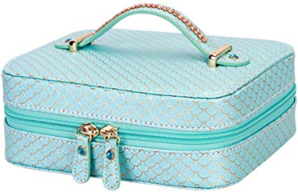 WWW Jewelry Travel Case Travel Jewelry Box Travel Jewelry Organizer Travel Jewelry Storage Cases Jewelry Organizer Bag for Necklaces, Earrings, Rings, Bracelet and Watches –Mint Green