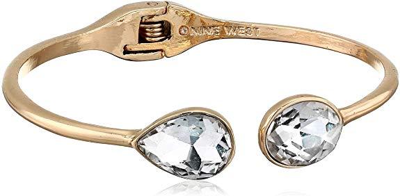 Nine West Women's Box Gold Tone Crystal Stretch Bracelet, One Size