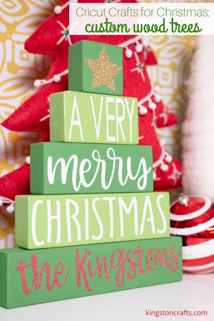 Cricut Crafts for Christmas: Custom Wood Trees