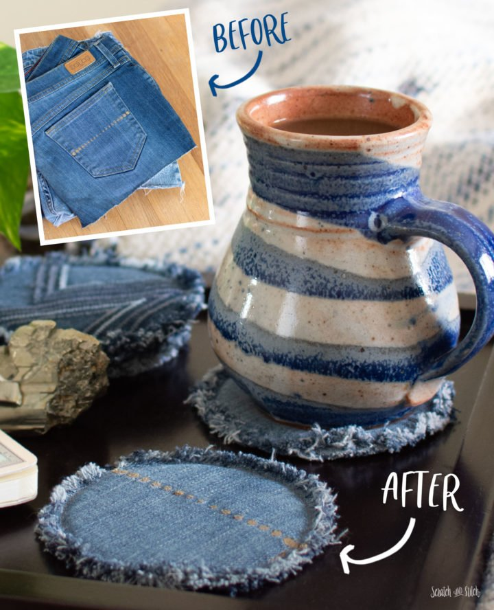 DIY Coasters Made From Jeans